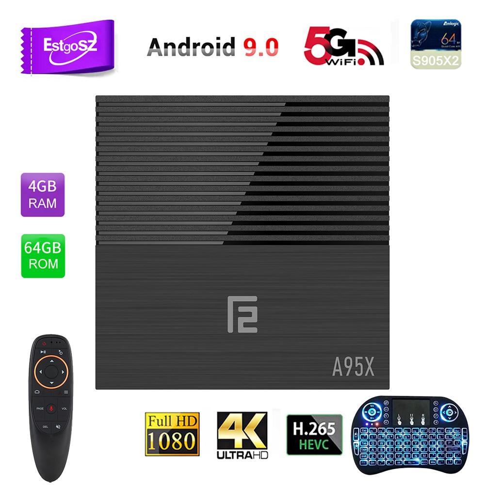EstgoSZ A95X F2 Smart TV Box Android 9.0 OS 4 GB DDR3 32 GB 64 GB USB2.0 & 3.0 HDMI 2.1 puissance CPU S905X2 nouveau GPU G31 prend en charge IPTV