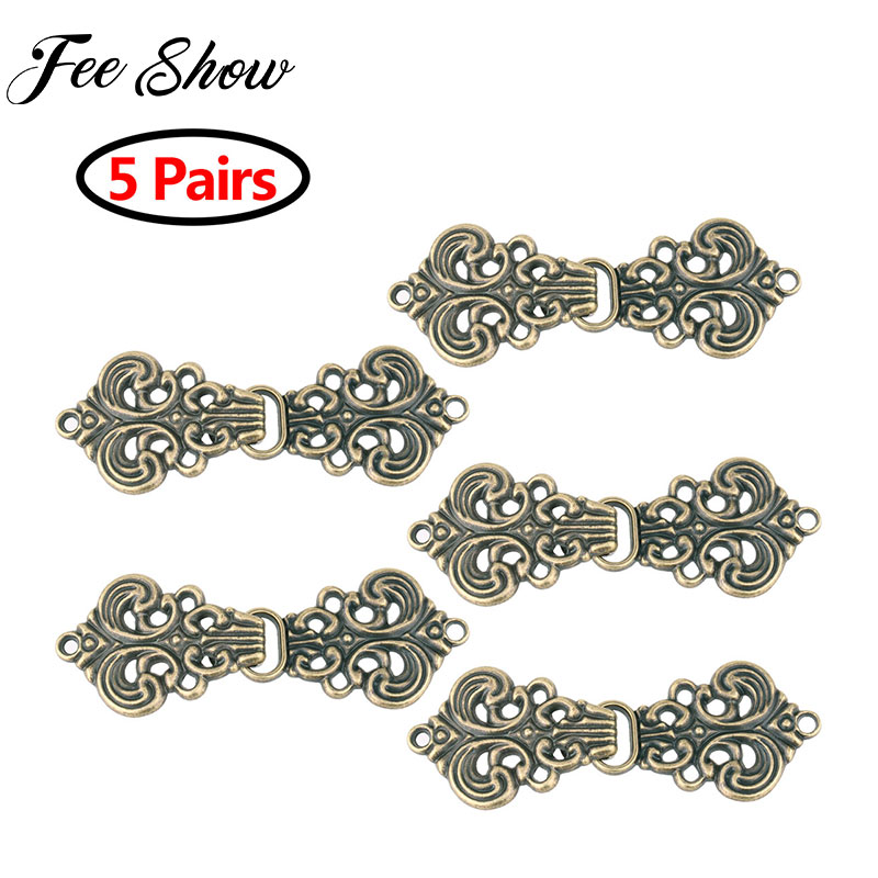 5 Pairs Vintage Cardigan Clip Clasp Fasteners Swirl Flower Cape or Cloak Clasp Fasteners Sew On Hooks Collar Metal Brooches