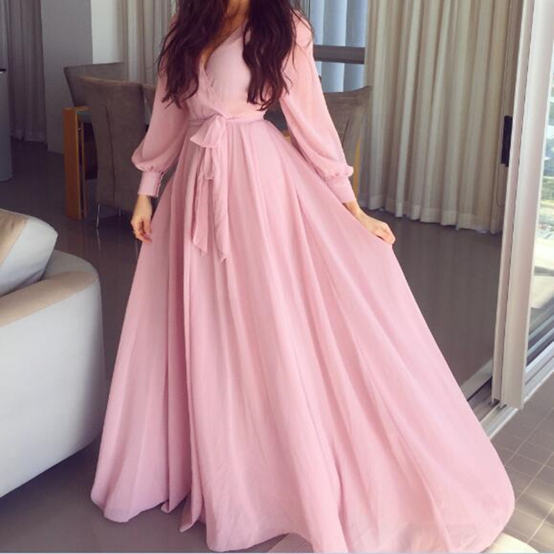 New Arrival V Neck Chiffon Draped Wedding Party   Dresses   Long Sleeves Pink Prom   Dress     Bridesmaid     Dresses