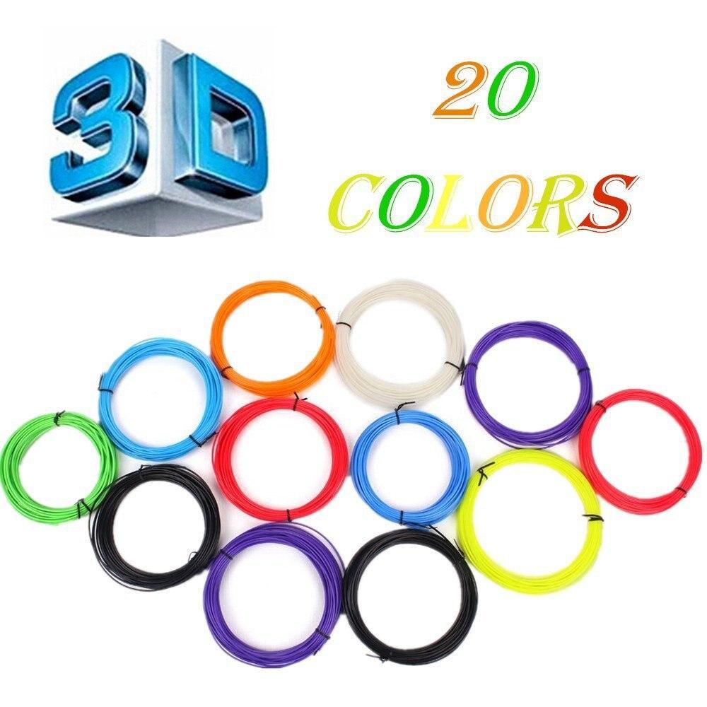 Nouveau 20 pcs/ensemble 200 M 3D Imprimante Pen Filament ABS/PLA 1.75mm Plastique Caoutchouc Consommables Matériel 3d stylo filament bateau Libre