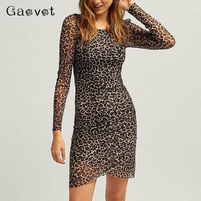 820fe794253c Gaovot sexy leopard print dress women tulle bodycon short mini party  dresses long sleeve fashionable spring autumn vestidos 2019