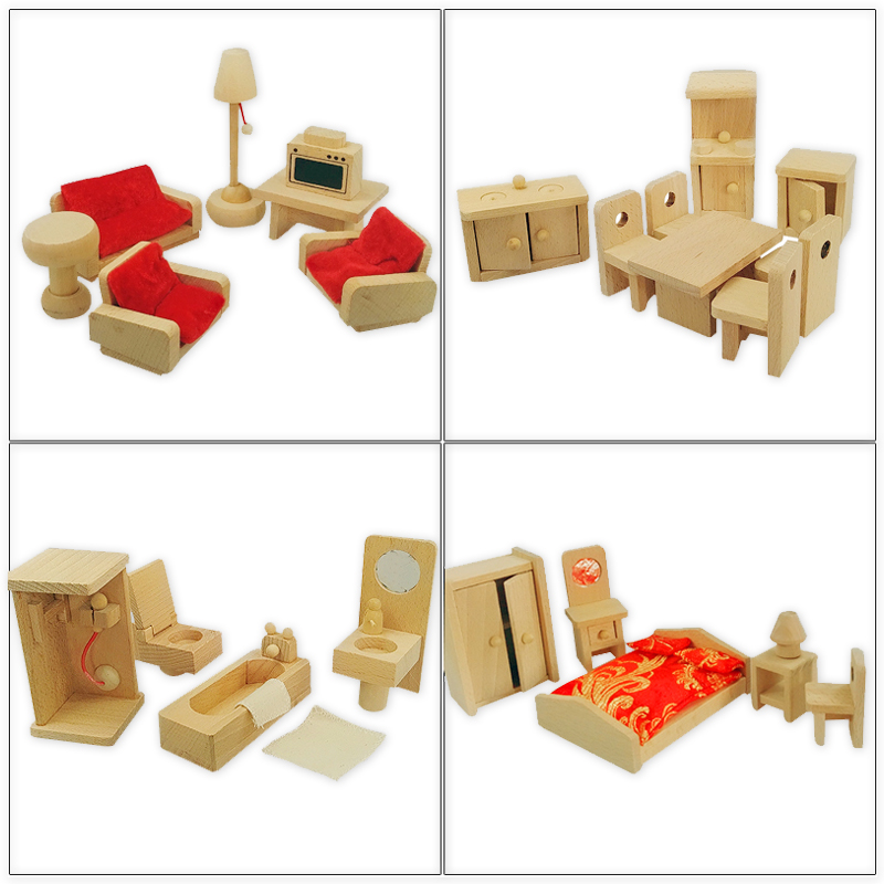 Natural Color Wooden Pretend Play Furniture Set Mini Cabinet Desk Chair Bathroom Bedroom Furnitures Kids Playing House Game Toy