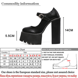Image 5 - Gdgydh New Arrival Women Classic Pumps Shoes Spring Summer Black Leather Mary Jane Heels Fashion Buckle Platform Shoes Woman