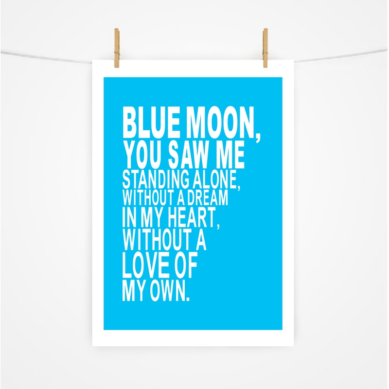 Manchester City Football Club Canvas Prints , Blue Moon Soccer Song Chant Quote Canvas Painting Wall Pictures Home Room Decor image