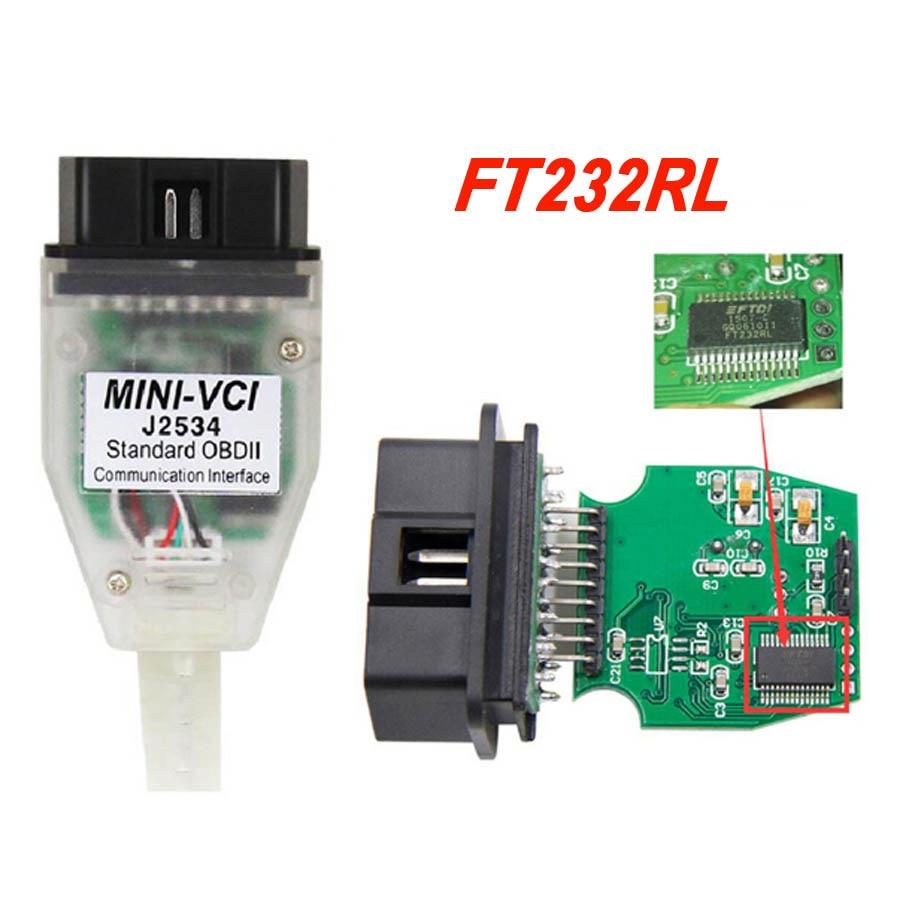 Mais recente Mini vci V13.00.022 J2534 Para Toyota com o Chip FTDI FT232RL OBD2 TIS Techstream Cabo Diagnóstico Do Carro MINI-VCI MINIVCI