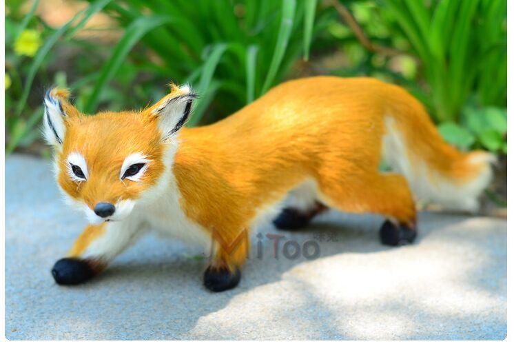 ФОТО new yellow simulation fox toy handicraft lifelike walking fox doll gift about 28x7x10cm