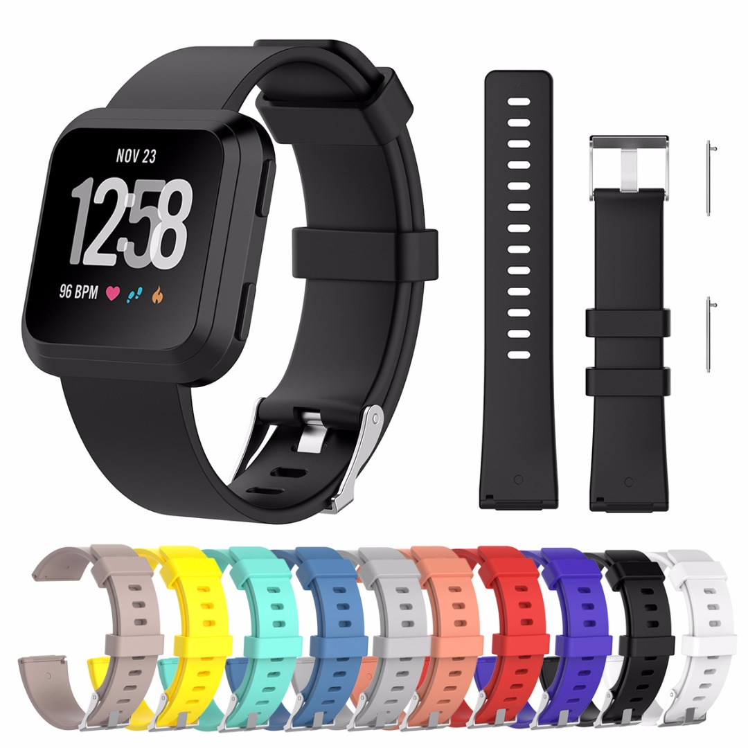 Colorful Replacement Soft Wristband Band Strap Watchband Bracelet S/L For Fitbit Versa Smart Watch Small or Large Size ...
