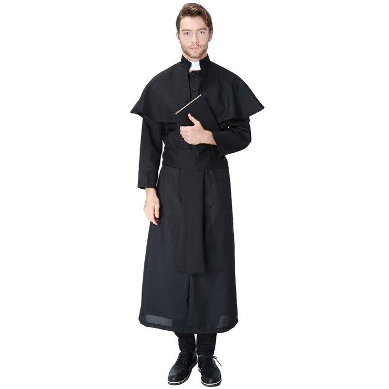 Maria Jesus Cristo Sacerdote de La Mascarada de Halloween Cosplay Traje Traje de Hombre de Ropa Negro Sexy Nun Batas Venta Caliente