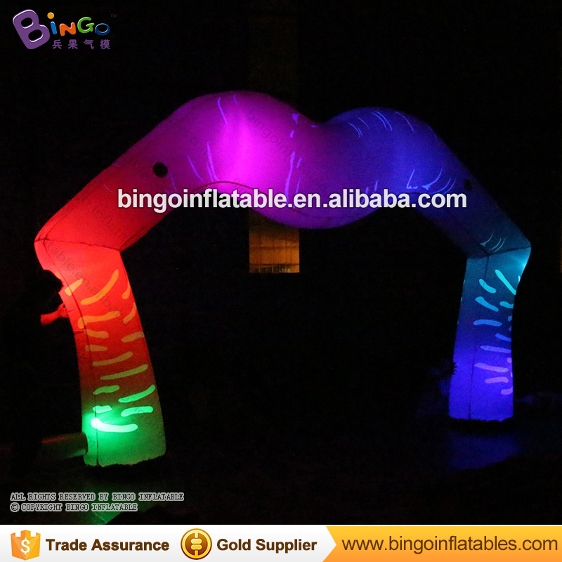 Valentine's Day 5 Meters wide LED lighting inflatable arch color change lips shape blow up archway for party light-up toy free shipping led light up inflatable heart shpe light inflatable lighting 2 4m for valentine s day wedding toy decoration