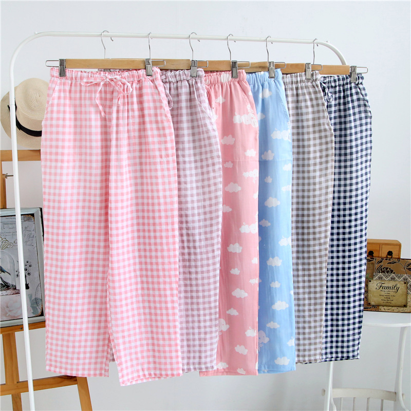 0014d9f1f Summer Ladies Pajamas Knitted Cotton Pants Men s Women Plaid Trousers Loose  Casual Sleep Bottoms Sleepwear Pants