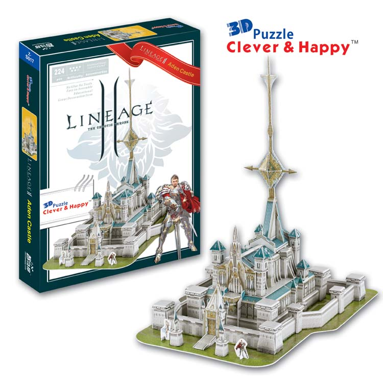 Candice guo 3D puzzle DIY toy paper building model assemble hand work computer game Lineage 2 Aden Castle birthday baby gift 1pc 1 32 diy 3d supermarine spitfire ixc type fighter plane aircraft paper model assemble hand work puzzle game diy kid toy