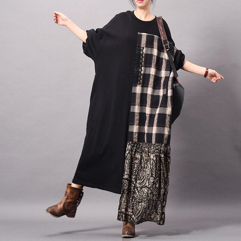 Johnature Vintage Kleid Patchwork Unregelmäßigen Frauen Robe Plaid Baumwolle Leinen 2019 Frühling Neue O ansatz Lange Hülse Beiläufige Weibliche Kleid-in Kleider aus Damenbekleidung bei  Gruppe 1