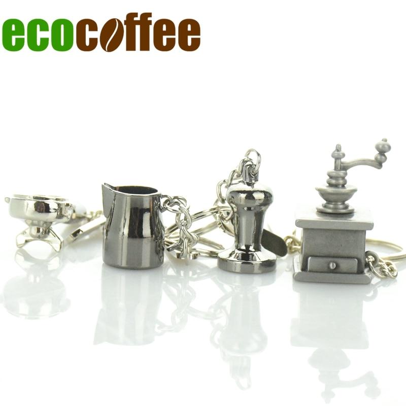 Diy Envío Gratis Accesorios de Espresso en stock Llavero Llavero de Pisón de café Perfilador de perfiles / jarra / hervidor / moka Pot Promotion