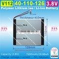 [V112] 3.8 V, 3.7 V, 7600 mAH, [40110126] Polymer lithium ion/Li-ion bateria para o banco de potência, o tablet pc, telefone celular, telefone celular, mp4, gps