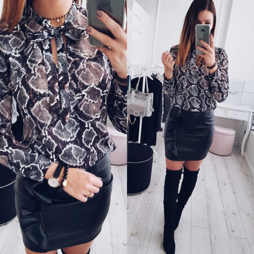8a32f023ec15b9 New Style 2019 Fashion women sexy chiffon blouses casual snake skin printed shirts  ladies loose tops