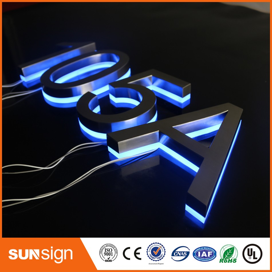 Custom Stainless Steel LED Lighted Backlit House Numbers For Hotels