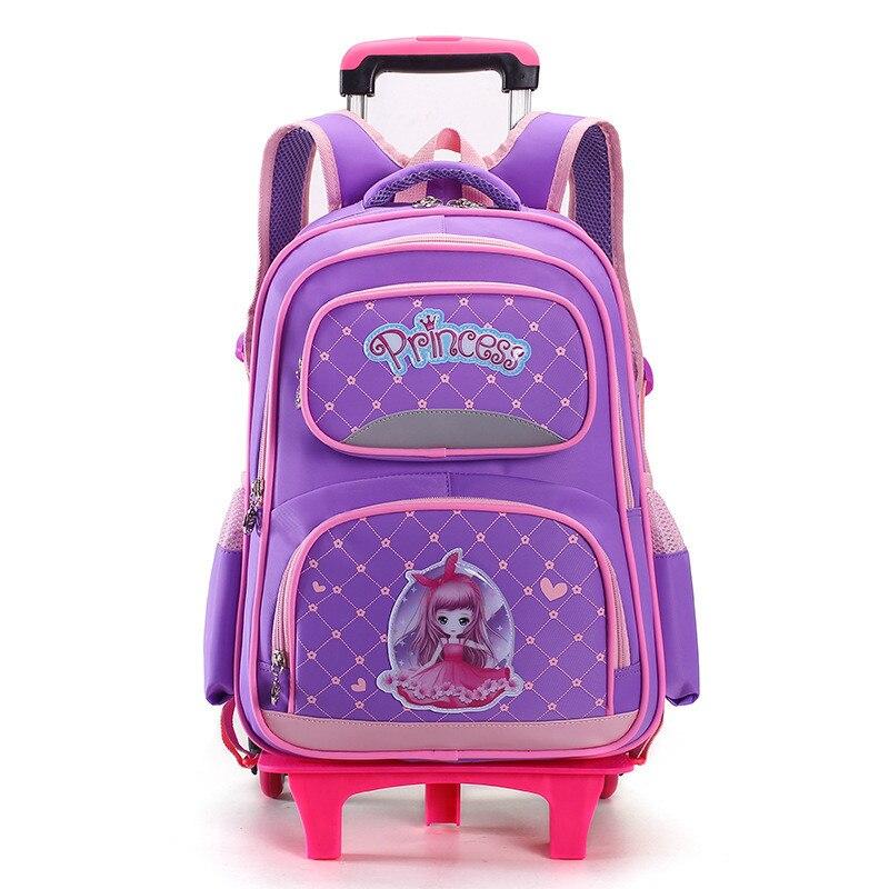 ZIRANYU Kids school bags With 2/6 Wheels Trolley school bag New design Luggage school backpack  for girls high quality backpack