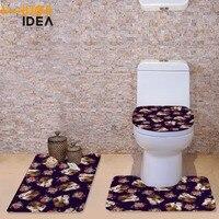 HUGSIDEA Çiçekler At 3 ADET Banyo Seti Halı Kontur Mat Tuvalet kapak Denim At Banyo Paspasları Tuvalet Aksesuarları Tuvalet Paspasları
