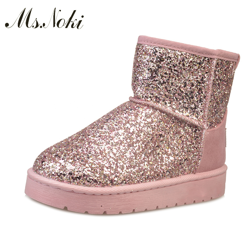 Fashion Women Snow Boots Bling Pink Leather Woman Ankle Boots Good quality Casual Warm Shoes Women Winter Boots