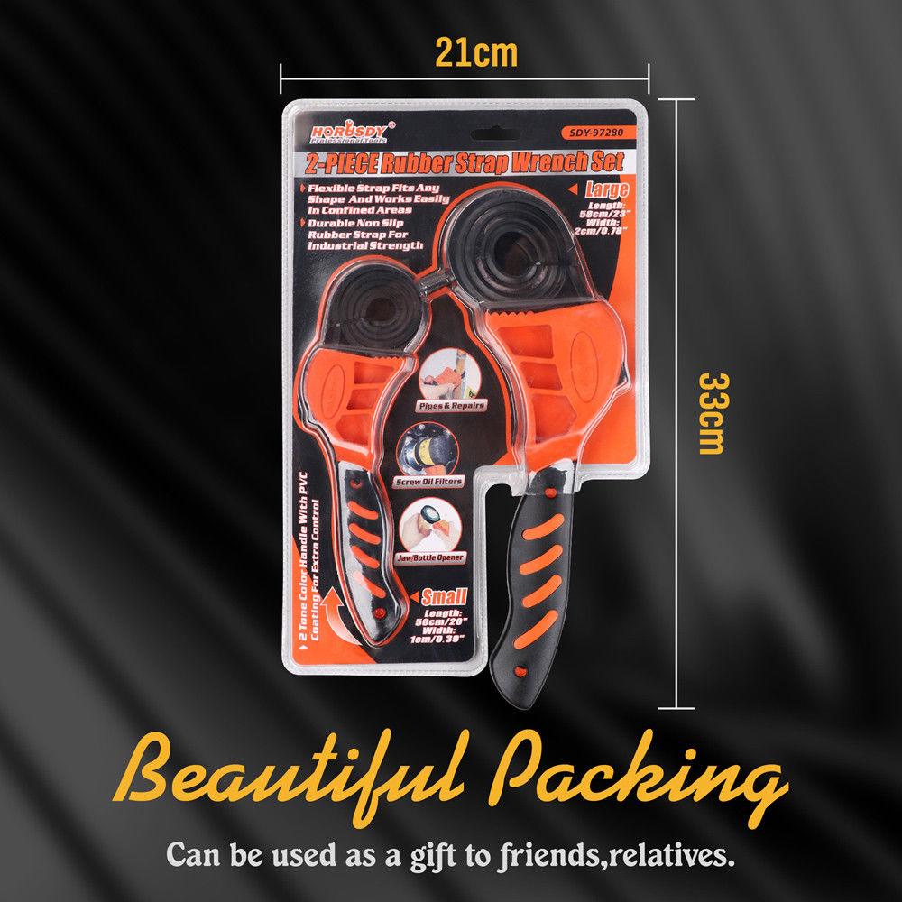Купить с кэшбэком 2PC Universal Belt Wrench Filter Bottle Opener Adjustable Wrench Spanner Opener Hand Tool For Auto Car Repair Oil Filter
