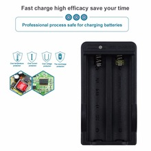18650 Battery Charger Double Charging Ports Black EU/UK Plug