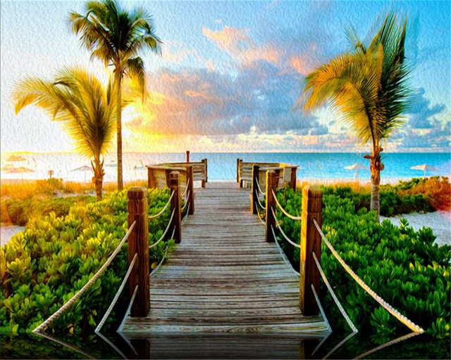 Custom 3d Photo Wallpaper Hd Maldives Sea Beach Natural: Beibehang Custom Wallpaper Beach Wooden Bridge Coconut