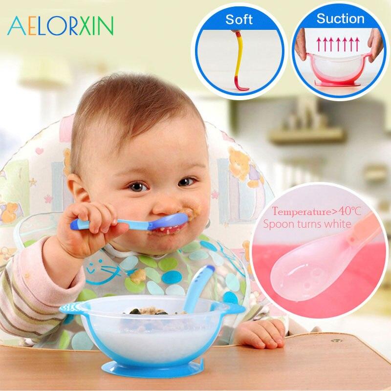 11.11 temperatura sensoriamento colher tigela de alimentação do bebê utensílios de mesa das crianças pratos de aprendizagem do bebê assistência alimentar tigela colher garfo