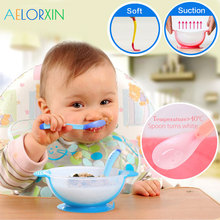 лучшая цена 2018 Temperature Sensing Spoon Baby Feeding Bowl Children's Tableware Baby Learning Dishes Feeding Assist Food Bowl Spoon Fork
