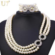 U7 Simulated Pearl Jewelry Set For Women Trendy Party Rhinestone Multi Layers Necklace Bracelet Sets S743(China)