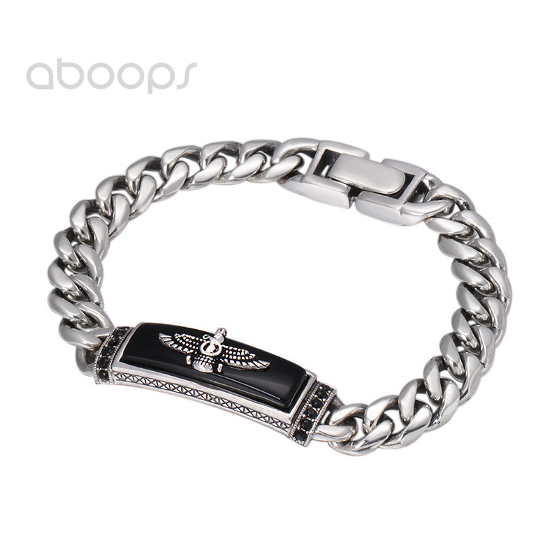 Vintage 925 Sterling Silver Curb Chain Bracelet Onyx & Eagle for Men Women 9mm 20 cm Free Shipping vintage alloy eagle shape bracelet for men