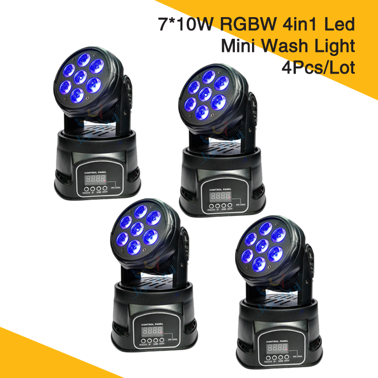(4Pcs/Lot) Led Mini Moving Head Wash Light 7*10W RGBW Led Wash Moving Head Dj Club Light(4Pcs/Lot) Led Mini Moving Head Wash Light 7*10W RGBW Led Wash Moving Head Dj Club Light