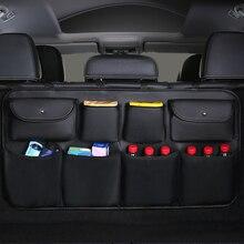 Bolsa de almacenamiento para asiento trasero de coche de cuero PU, organizador de maletero de coche, accesorios de coche de remolque automático, varios usos, novedad de 2020