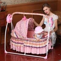 Новые детские гнездо складной электрический детские кровати с музыкой Цветочные моющиеся детские кроватки для новорожденных гамак для Для