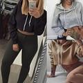 Women Sexy Fashion Crop Top Hoodies Long Sleeve Hooded Sweatshirt