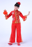 chinese folk dance children sequined costume competition yangko dance show dance red dress opener genv seedling