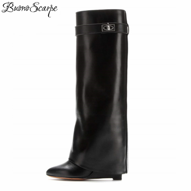 BuonoScarpe Shark Lock Women Wedge Boots Black Fold Knee High Heel Boots Pointed Toe Long Boots