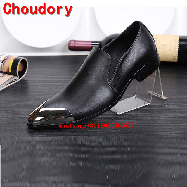 Choudory Classic red wedding shoes genuine leather iron toe gold dress  shoes men loafers formal oxford plus size velvet slippers 656356848f56