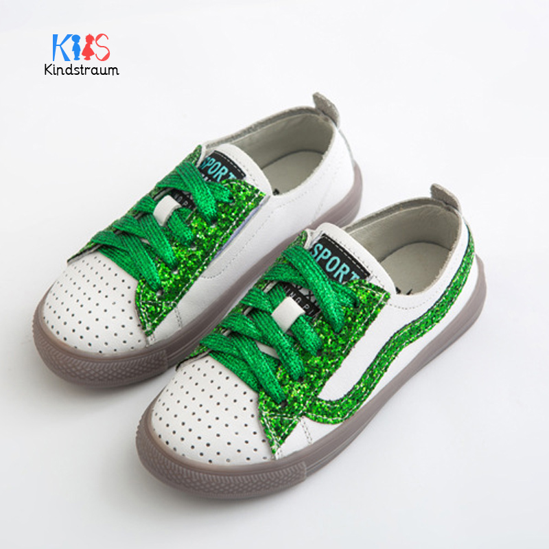 Kindstraum Autumn Sprots Boy&Girl Sneaker Fashion Lace-Up Breathable Leather Children Solid Warm Bright Soft Shoes ,BBJ049