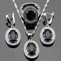 Made in China Silver Color Jewelry Sets For Women White CZ Blue Created Sapphire Pendant/Necklace/Earrings/Rings Free Box