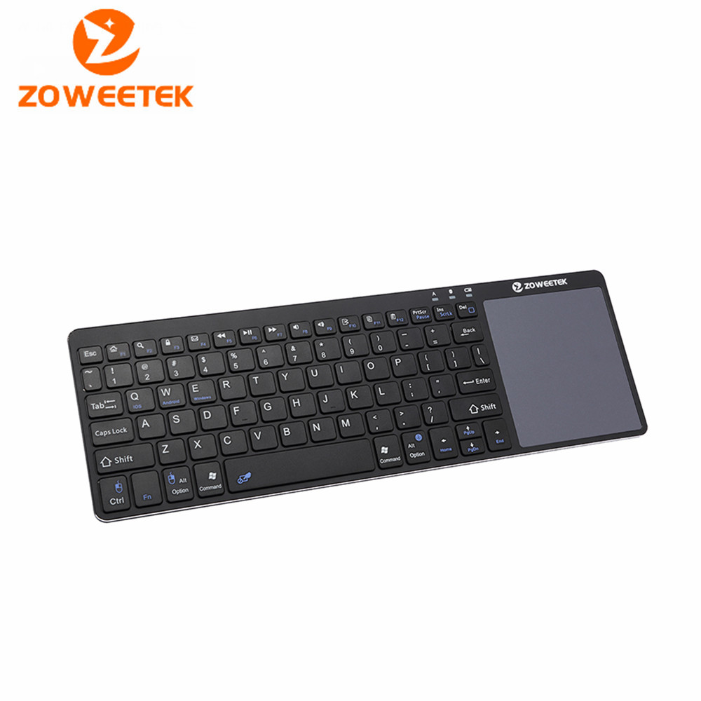 Zoweetek K12BT-1 Wireless Bluetooth Keyboard Multimedia Ultra Slim with Touchpad For PC Smart Android Google TV Box HTPC IPTV