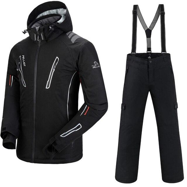 Лыжный костюм, Мужская лыжная куртка + Saenshing, штаны для сноуборда, дышащие, лыжные, сноубординг, зимний комплект, супер теплый, водонепроницаемый