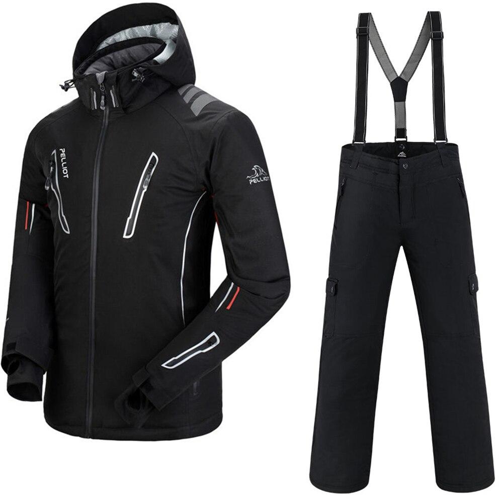 Traje de esquí para hombre peliot chaqueta de esquí + saensing Snowboard pantalones transpirables esquí Snowboard invierno nieve Set Super Cálido impermeable