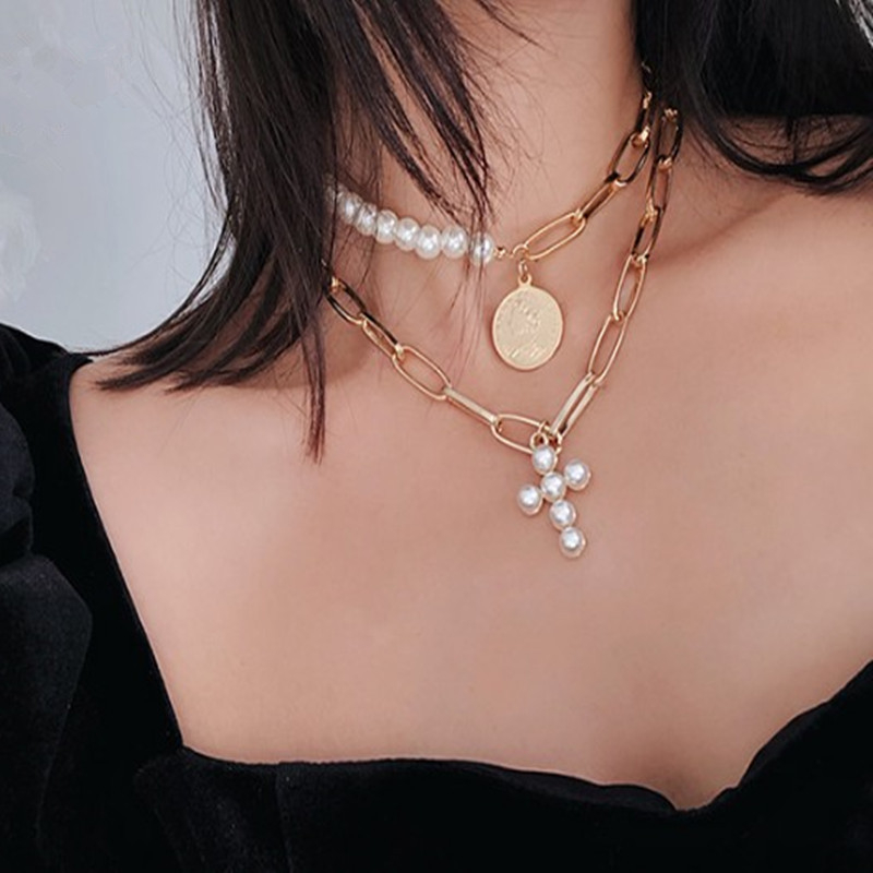 Luxury Choker Necklace Imitation Pearls Necklace Cross Pendant Necklaces for Women Gold Color MultiLayer Chain Fashion Jewelry 3