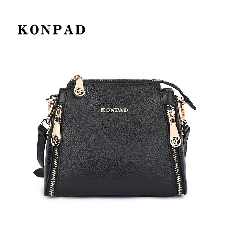 KONPAD Women Bucket bag Shoulder Bags Handbags Soft Real Genuine Leather Ladies Tote Bags crossbody bag free shipping