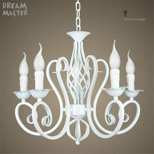 Image 4 - Biały żyrandol w stylu nordyckim wragh żelaza lustre lampa do salonu 220V 110V jadalnia sypialnia żyrandol Foyer