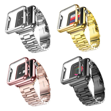 For Apple Watch Band Three Links Stainless Steel Strap for Smart Apple Watch with Apple Watch Plated Protective Case Cover
