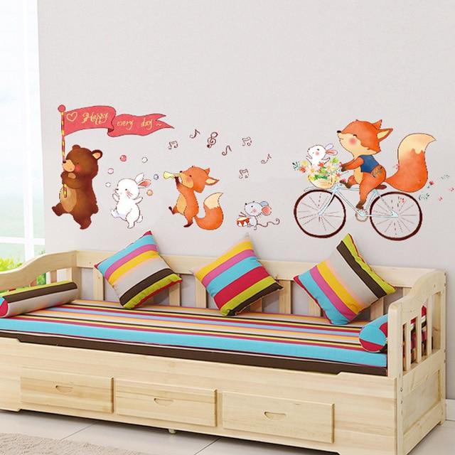 cute cartoon animals bear fox wall stickers baby's room wall