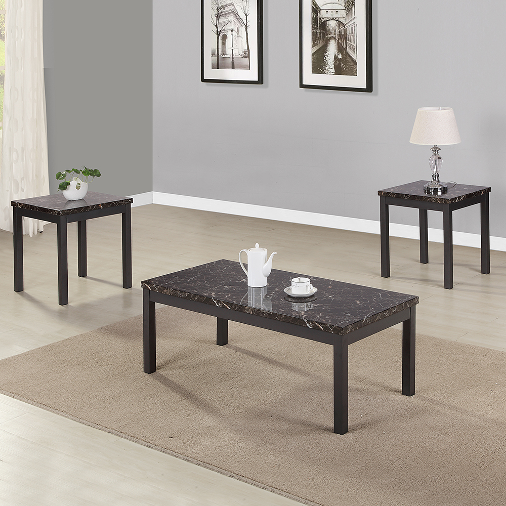 Tables à Café 3 pièces Table basse en Faux marbre de Style moderne avec pieds en métal meubles haut de gamme modernes pour salons salles à manger