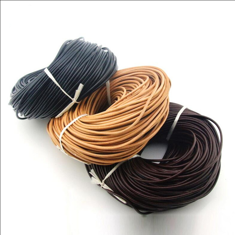 5meter 1.5/2/2.5/3/4/5mm Round Real Genuine Leather Cord Rope/String/Wire for Necklace Bracelet Black/Brown DIY Jewelry Making artificial leather rope round collarbone necklace