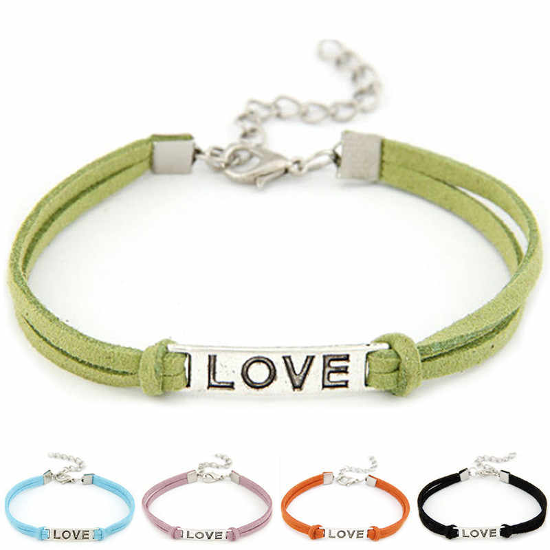 Stylish Wild Bracelet 1PC Women Men Love Handmade Bracelet Alloy Rope Charm Jewelry Weave Bracelet High Quality Gifts Blue L0330